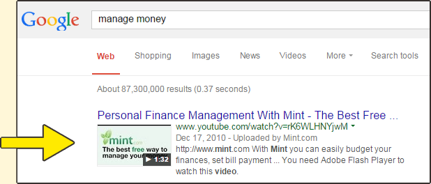 Videos rank in Google results too